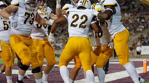 <p>               Wyoming running back Nico Evans (22) is congratulated by teammates after his touchdown against New Mexico State in the first half of an NCAA college football game in Las Cruces, N.M., Saturday, Aug. 25, 2018. (AP Photo/Andres Leighton)             </p>