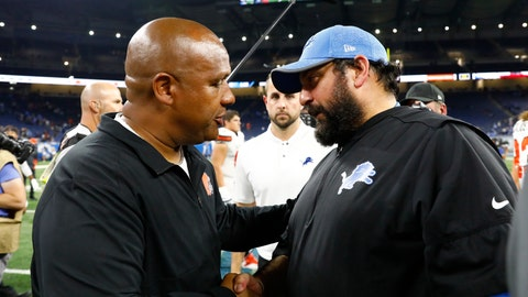 <p>               Cleveland Browns head coach Hue Jackson, left, meets with Detroit Lions head coach Matt Patricia after an NFL football preseason game, Thursday, Aug. 30, 2018, in Detroit. (AP Photo/Rick Osentoski)             </p>