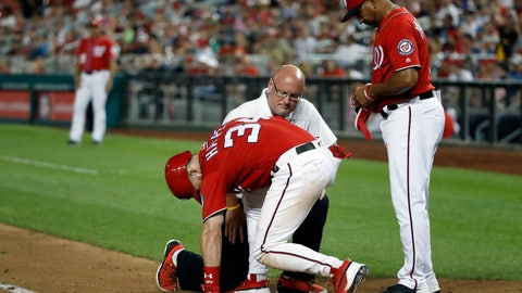 <p>               Washington Nationals' Bryce Harper is checked by trainer Paul Lessard and manager Dave Martinez, right, after he was hit by a pitch during the sixth inning of the second baseball game of the team's doubleheader against the Cincinnati Reds at Nationals Park, Saturday, Aug. 4, 2018, in Washington. (AP Photo/Alex Brandon)             </p>
