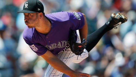 <p>               Colorado Rockies starting pitcher Chad Bettis works against the Los Angeles Dodgers in the first inning of a baseball game Sunday, Aug. 12, 2018, in Denver. (AP Photo/David Zalubowski)             </p>