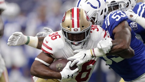 <p>               San Francisco 49ers running back Alfred Morris (36) is wrapped up by Indianapolis Colts linebacker Darius Leonard (53) during the first half of an NFL preseason football game in Indianapolis, Saturday, Aug. 25, 2018. (AP Photo/Michael Conroy)             </p>