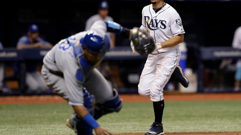 <p>               Tampa Bay Rays' Willy Adames, right, scores as Kansas City Royals catcher Salvador Perez picks up a squeeze bunt by Carlos Gomez during the sixth inning of a baseball game Wednesday, Aug. 22, 2018, in St. Petersburg, Fla. (AP Photo/Chris O'Meara)             </p>