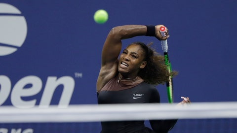 <p>               Serena Williams, of the United States, returns a shot to Magda Linette, of Poland, during the first round of the U.S. Open tennis tournament, Monday, Aug. 27, 2018, in New York. (AP Photo/Jason DeCrow)             </p>