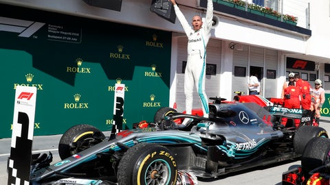 <p>               FILE - In this Sunday, July 29, 2018 file photo Mercedes driver Lewis Hamilton of Britain celebrates atop his car after winning the Hungarian Formula One Grand Prix, at the Hungaroring racetrack in Mogyorod, northeast of Budapest. Sebastian Vettel needs to start closing the gap quickly on Lewis Hamilton, or he risks the Formula One title race slipping out of his grasp once again. (AP Photo/Laszlo Balogh, File)             </p>