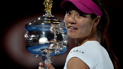 <p>               FILE - In this Jan. 25, 2014, file photo, Li Na, of China, holds the championship trophy after defeating Dominika Cibulkova of Slovakia in their women's singles final at the Australian Open tennis championship in Melbourne, Australia. Li Na could become the first player from Asia elected to the International Tennis Hall of Fame. The two-time major champion from China is one of eight Grand Slam title winners who are candidates for the International Tennis Hall of Fame's Class of 2019. (AP Photo/Andrew Brownbill, File)             </p>