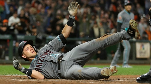 <p>               Arizona Diamondbacks' Nick Ahmed tumbles and waits for the call after being thrown out at home plate in the eighth inning of a baseball game against the San Francisco Giants, Tuesday, Aug. 28, 2018, in San Francisco. (AP Photo/Eric Risberg)             </p>