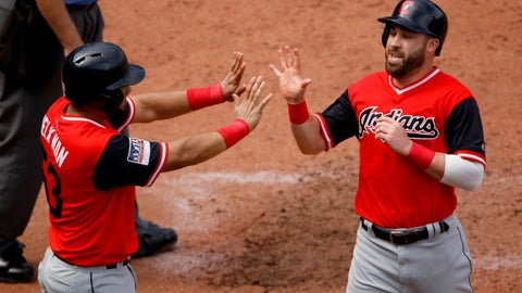 <p>               Cleveland Indians' Melky Cabrera, left, and Jason Kipnis celebrate after scoring on a two-run single by Francisco Lindor during the sixth inning of a baseball game against the Kansas City Royals, Sunday, Aug. 26, 2018, in Kansas City, Mo. (AP Photo/Charlie Riedel)             </p>