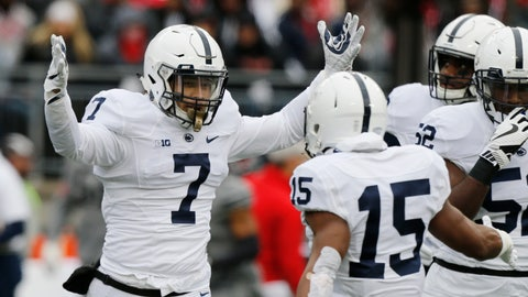 <p>               FILE - In this Oct. 28, 2017, file photo, Penn State linebacker Koa Farmer (7) celebrates recovering a fumble against Ohio State during the first half of an NCAA college football game in Columbus, Ohio. Farmer has always been a big fan of TV crime dramas. After he is done playing football, Farmer wants in on the action, for real. The senior is a criminology and sociology major at Penn State. (AP Photo/Jay LaPrete, File)             </p>