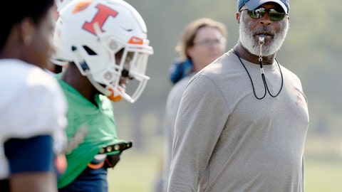 <p>               In this Aug. 14, 2018, photo Illinois head football coach Lovie Smith watches his players during training camp at the Campus Rec Fields in Urbana, Ill. A year's worth of experience, intensive strength training and an emerging leader at quarterback could combine to give Illinois a realistic shot at playing some winning football. (Stephen Haas/The News-Gazette via AP)             </p>