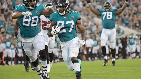 "<p>               FILE - In this Saturday, Aug. 25, 2018 file photo, Jacksonville Jaguars running back Leonard Fournette (27) runs for a 21-yard touchdown against the Atlanta Falcons, next to tight end Austin Seferian-Jenkins (88), as offensive tackle Jermey Parnell (78) signals the score during the first half of an NFL preseason football game in Jacksonville, Fla. Jacksonville Jaguars running back Leonard Fournette lost more than 15 pounds this offseason in an effort to ""take it back"" to his college days. He now expects his second NFL season to look a lot like his sophomore year at LSU.  (AP Photo/Phelan M. Ebenhack, File)             </p>"