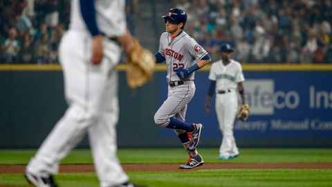 <p>               Houston Astros' Josh Reddick trots around the bases after hitting a solo home run off of Seattle Mariners pitcher Ross Detwiler during the fourth inning of a baseball game Tuesday, Aug. 21, 2018, in Seattle. (AP Photo/Jennifer Buchanan)             </p>
