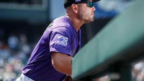 <p>               Just recalled from the Triple A team, Colorado Rockies left fielder Matt Holliday takes the field to face the San Diego Padres in the first inning of a baseball game Thursday, Aug. 23, 2018, in Denver. (AP Photo/David Zalubowski)             </p>