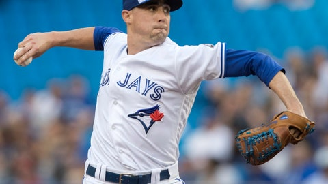 <p>               FILE - In this June 15, 2018, file photo, Toronto Blue Jays starting pitcher Aaron Sanchez throws to a Washington Nationals batter during the first inning of a baseball game in Toronto.  Add Blue Jays right-hander Aaron Sanchez to the list of big leaguers to suffer suitcase-related injuries this season. Sanchez acknowledged Wednesday, Aug. 22, 2018, that the bruised right index finger that has sidelined him for the past two months occurred when his finger got caught in a falling suitcase.  (Fred Thornhill/The Canadian Press via AP, File)             </p>