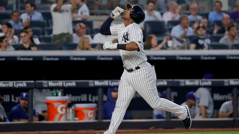 <p>               New York Yankees' Miguel Andujar reacts as he heads down the third base line after hitting a two-run home run against the Texas Rangers during the fourth inning of a baseball game, Thursday, Aug. 9, 2018, in New York. (AP Photo/Julie Jacobson)             </p>