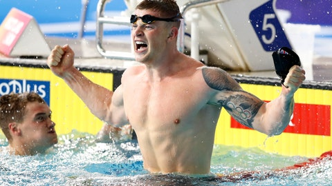 <p>               Adam Peaty of Great Britain reacts after winning the 100 meters breaststroke men final setting a new world record at the European Swimming Championships in Glasgow, Scotland, Saturday, Aug. 4, 2018. (AP Photo/Darko Bandic)             </p>