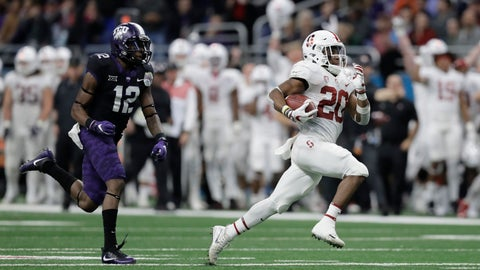 <p>               FILE - In this Dec. 28, 2017, file photo, Stanford running back Bryce Love (20) is pursued by TCU cornerback Jeff Gladney (12) as he runs for a touchdown during the second half of the Alamo Bowl NCAA college football game, in San Antonio. Love bucked popular opinion by sticking with the Cardinal rather than declaring early for the NFL draft.(AP Photo/Eric Gay, File)             </p>