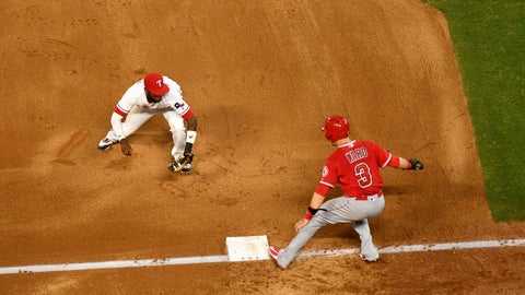 <p>               Texas Rangers shortstop Jurickson Profar runs to tag out Los Angeles Angels' Taylor Ward (3) for one out of a triple play on a ground ball by David Fletcher off of Texas Rangers starting pitcher Ariel Jurado during the fourth inning of a baseball game, Thursday, Aug. 16, 2018, in Arlington, Texas. Fletcher and Eric Young Jr. were also out on the play. (AP Photo/Jeffrey McWhorter)             </p>