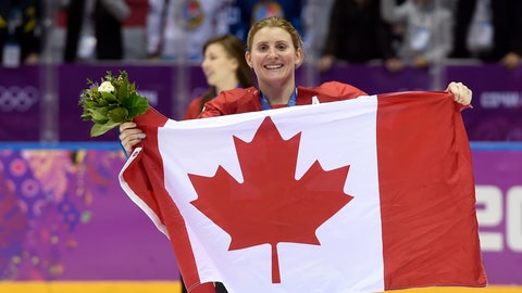 <p>               FILE - In this Feb. 21, 2014, file photo, Canada's Hayley Wickenheiser celebrates with the Canadian flag after beating the USA 3-2 in overtime at the Sochi Winter Olympics in Sochi, Russia. Wickenheiser is the Toronto Maple Leafs new assistant director of player development. (AP Photo/Paul Chiasson, The Canadian Press, File)             </p>