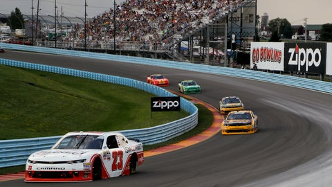 <p>               AJ Allmendinger (23) comes out of Turn 2 during a NASCAR series auto race, Saturday, Aug. 4, 2018, in Watkins Glen, N.Y. (AP Photo/Julie Jacobson)             </p>
