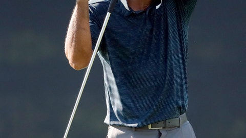<p>               Tiger Woods wipes off his face on the10th green during the first round of the PGA Championship golf tournament at Bellerive Country Club, Thursday, Aug. 9, 2018, in St. Louis. (AP Photo/Jeff Roberson)             </p>