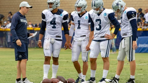 <p>               FILE - In this Saturday, July 28, 2018, file photo, Dallas Cowboys quarterback coach Kellen Moore, left talks to quarterbacks Dak Prescott (4), Dalton Sturm (1), Mike White (3) and Cooper Rush, far right, during NFL football training camp in Oxnard, Calif. In one year, Moore has gone from sitting next to Dak Prescott in meetings to running them as the new quarterbacks coach of the Cowboys. (AP Photo/Gus Ruelas, File)             </p>