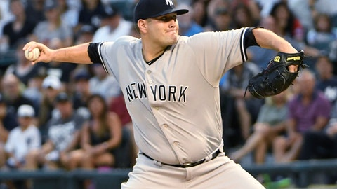 <p>               New York Yankees starting pitcher Lance Lynn (36) throws the ball against the Chicago White Sox during the first inning of a baseball game, Monday, Aug. 6, 2018, in Chicago. (AP Photo/David Banks)             </p>
