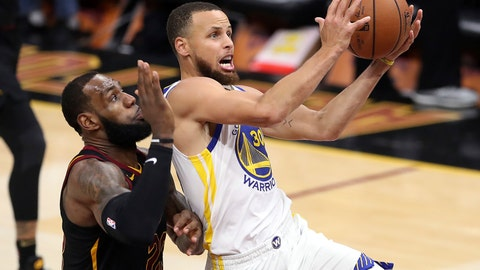 <p>               FILE - In this June 6, 2018 file photo, Golden State Warriors' Stephen Curry goes to the basket against Cleveland Cavaliers' LeBron James, left, during the second half of Game 3 of basketball's NBA Finals in Cleveland. Curry can only imagine the intensity level of the Lakers-Warriors rivalry now that LeBron James has landed in L.A. After four straight NBA Finals against James and the Cleveland Cavaliers, two-time defending champion Golden State will get four matchups against James during the regular season. (AP Photo/Carlos Osorio, File)             </p>
