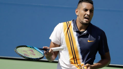 <p>               Nick Kyrgios, of Australia, talks to himself during a match 180against Pierre-Hugues Herbert, of France, during the second round of the U.S. Open tennis tournament, Thursday, Aug. 30, 2018, in New York. (AP Photo/Seth Wenig)             </p>