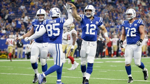 <p>               Indianapolis Colts tight end Eric Ebron (85) celebrates a touchdown reception with quarterback Andrew Luck (12) in the first half of an NFL preseason football game against the San Francisco 49ers in Indianapolis, Saturday, Aug. 25, 2018. (AP Photo/AJ Mast)             </p>