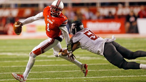 <p>               FILE - In this Nov. 11, 2017,, file photo, Utah quarterback Tyler Huntley (1) eludes the tackle from Washington State linebacker Frankie Luvu (51) in the second half of an NCAA college football game, in Salt Lake City. While the two Los Angeles teams adjust to new quarterbacks, and the Arizona teams break in new coaches, steady Utah has nine starters back on offense, including quarterback Tyler Huntley and running back Zack Moss. Not to mention continuity at the helm with coach Kyle Whittingham. (AP Photo/Rick Bowmer, File)             </p>