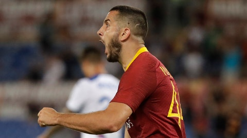 <p>               Roma's Kostas Manolas celebrates after scoring during a Serie A soccer match between Roma and Atalanta, in Rome's Olympic stadium, Monday, Aug. 27, 2018. (AP Photo/Andrew Medichini)             </p>