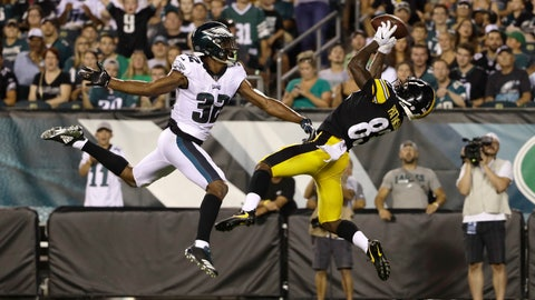 <p>               Pittsburgh Steelers' Damoun Patterson, right, catches a touchdown pass next to Philadelphia Eagles' Rasul Douglas during the first half of a preseason NFL football game Thursday, Aug. 9, 2018, in Philadelphia. (AP Photo/Matt Rourke)             </p>