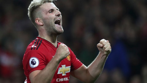 <p>               Manchester United's Luke Shaw celebrates after scoring his sides second goal of the game during the English Premier League soccer match between Manchester United and Leicester City at Old Trafford, in Manchester, England, Friday, Aug. 10, 2018. (AP Photo/Jon Super)             </p>
