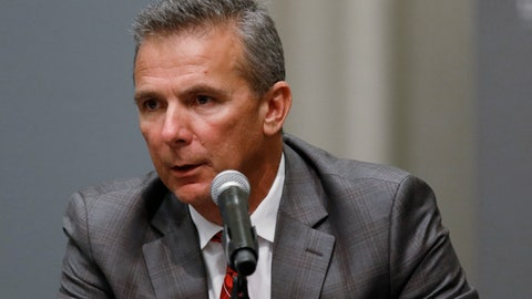 <p>               FILE - In this Aug. 22, 2018, file photo, Ohio State football coach Urban Meyer makes a statement during a news conference in Columbus, Ohio. Meyer's current suspension and previous paid leave have restricted him from talking football with his staff and athletes during August with one exception _ a team meeting the day after the suspension was announced. Emails from the senior vice president for human resources show Meyer and athletic director Gene Smith were allowed to meet with the players and coaches last Thursday, Aug. 23, 2018. (AP Photo/Paul Vernon, File)             </p>