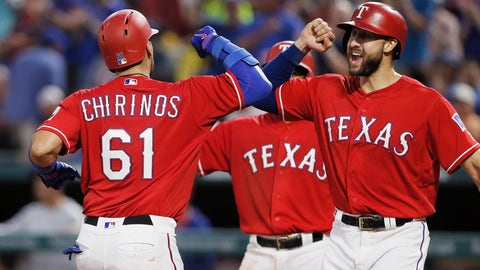 <p>               Texas Rangers' Robinson Chirinos (61) is congratulated by Joey Gallo, right, after hitting a three-run home run during the fourth inning of a baseball game against the Arizona Diamondbacks, Monday, Aug. 13, 2018, in Arlington, Texas. (AP Photo/Brandon Wade)             </p>