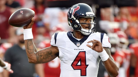 <p>               Houston Texans quarterback Deshaun Watson (4) throws during the first half of the team's NFL preseason football game against the Kansas City Chiefs in Kansas City, Mo., Thursday, Aug. 9, 2018. (AP Photo/Ed Zurga)             </p>