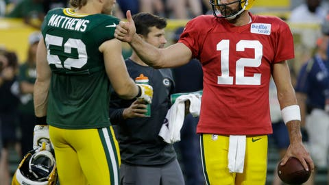 <p>               Green Bay Packers Aaron Rodgers, right, gives a thumbs-up during NFL football Family Night practice Saturday, Aug. 4, 2018, in Green Bay, Wis. (AP Photo/Mike Roemer)             </p>