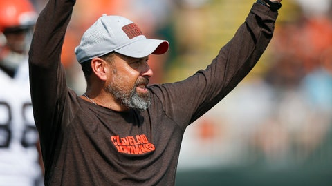 <p>               Cleveland Browns offensive coordinator Todd Haley reacts to a play during NFL football training camp Tuesday, Aug. 14, 2018, in Berea, Ohio. (AP Photo/Ron Schwane)             </p>