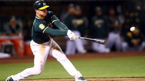 <p>               Oakland Athletics' Matt Chapman connects for a two-run double off Seattle Mariners' Casey Lawrence in the sixth inning of a baseball game, Monday, Aug. 13, 2018, in Oakland, Calif. (AP Photo/Ben Margot)             </p>