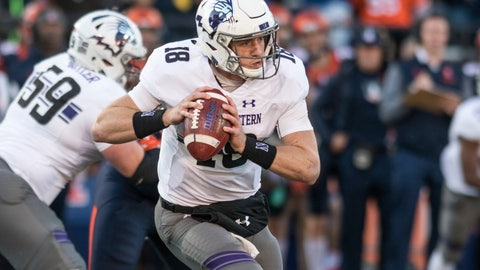 <p>               FILE - In this Nov. 25, 2017, file photo, Northwestern quarterback Clayton Thorson (18) looks for a receiver during the first half of the team's NCAA college football game against Illinois in Champaign, Ill. Thorson hopes to play in the opener at Purdue after last season ended with him getting carted off the field with a torn anterior cruciate ligament in his right knee. (AP Photo/Bradley Leeb, File)             </p>