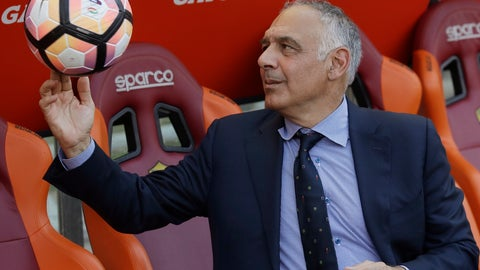 """<p>               FILE - In this Sunday, May 28, 2017 file photo AS Roma president James Pallotta plays with a ball prior to an Italian Serie A soccer match between Roma and Genoa at the Olympic stadium in Rome, Sunday, May 28, 2017. A """"Made in USA"""" matchup. The """"American derby."""" Italian media are promoting Friday's match between AC Milan and Roma at the San Siro stadium as the first meeting of two American-owned clubs in Serie A. (AP Photo/Alessandra Tarantino, File)             </p>"""