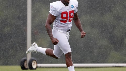 <p>               FILE - In this Aug. 2, 2018, file photo, Atlanta Falcons defensive end Takkarist McKinley (98) runs in the rain during NFL football training camp in Flowery Branch, Ga. McKinley, the Falcons' first-round pick in 2017, showed his disruptive potential when he recorded six sacks as a rookie. But the outside linebacker has had surgeries on both shoulders the last two years and he's being watched closely in training camp. (AP Photo/John Bazemore, File)             </p>