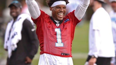 <p>               Carolina Panthers quarterback Cam Newton plays to fans during NFL football practice Sunday, Aug. 5, 2018, in Spartanburg, S.C. (Jeff Siner/The Charlotte Observer via AP)             </p>