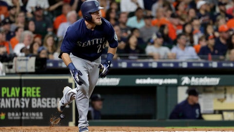<p>               Seattle Mariners' Chris Herrmann drops his bat after hitting an RBI-triple against the Houston Astros during the fourth inning of a baseball game Saturday, Aug. 11, 2018, in Houston. (AP Photo/David J. Phillip)             </p>