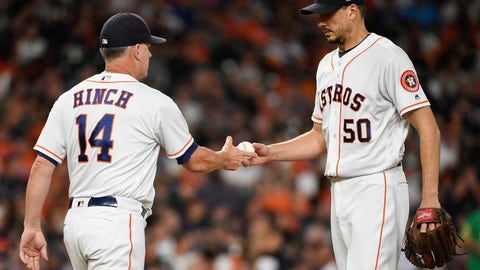 <p>               Houston Astros starting pitcher Charlie Morton (50) is removed from the game by manager AJ Hinch during the fifth inning of a baseball game against the Oakland Athletics, Tuesday, Aug. 28, 2018, in Houston. (AP Photo/Eric Christian Smith)             </p>