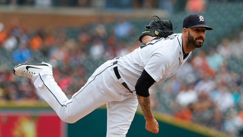 <p>               Detroit Tigers pitcher Mike Fiers throws against the Cincinnati Reds in the first inning of a baseball game in Detroit, Wednesday, Aug. 1, 2018. (AP Photo/Paul Sancya)             </p>