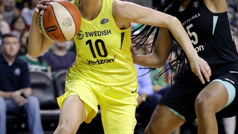 <p>               Seattle Storm's Sue Bird (10) tries to get past New York Liberty's Brittany Boyd during the first of a WNBA basketball game Friday, Aug. 17, 2018, in Seattle. (AP Photo/Elaine Thompson)             </p>