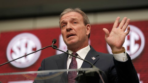 <p>               FILE - In this July 16, 2018, file photo, Texas A&M head coach Jimbo Fisher speaks at Southeastern Conference Media Days in Atlanta. Texas A&M handed Fisher a 10-year, $75 million contract to leave Florida State after Kevin Sumlin was fired last year. Aggie fans believe that's 75 million reasons why he should be the one to deliver their first national title since 1939. He knew what the expectations were before the ink was dry on the deal. And he insists he isn't daunted by them.(AP Photo/John Bazemore)             </p>