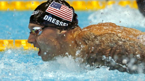 <p>               U.S. swimmer Caeleb Dressel competes on his way to winning the men's 100m butterfly final during the Pan Pacific swimming championships in Tokyo, Saturday, Aug. 11, 2018.(AP Photo/Koji Sasahara)             </p>