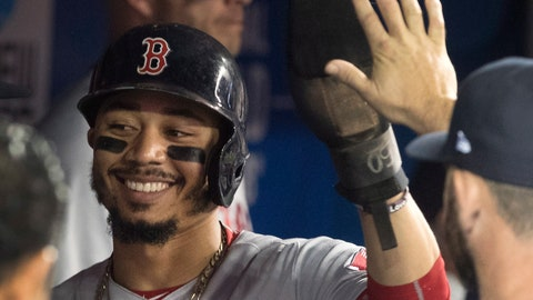 <p>               Boston Red Sox's Mookie Betts is congratulated in the dugout after scoring against the Toronto Blue Jays during the first inning of a baseball game Thursday, Aug. 9, 2018, in Toronto. (Fred Thornhill/The Canadian Press via AP)             </p>